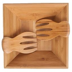 SM Bowls Bamboo Salad Bowl w/Serving Hands: Sustainable set
