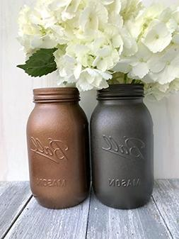 Set of 2 Painted Mason Jar Rustic Home Decor Kitchen Utensil