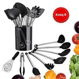 Kitchen Utensils Set- Tatufy 9 Cooking Utensils Set, Silicon