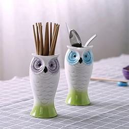 Yosou Home Ceramic Owl Utensil Holder/Decorative Owl Vase Va