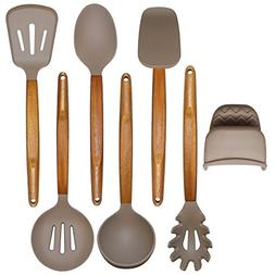 Adtoprime Silicone Cooking Utensils Set Acacia Wooden Handle
