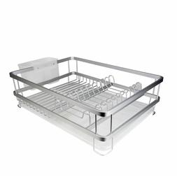 Aluminum Dish Drying Rack With Utensil Holder - Kitchen Coun