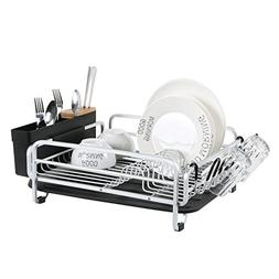 Aluminum Dish Drying Rack with Large Storage Cutlery Holder,