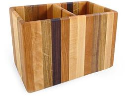 American Made Mixed Wood Utensil Holder Crock, Double Size