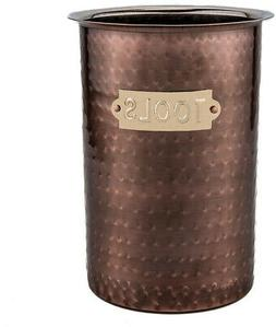 Utensil Holder Antique Copper Hammered Tool Caddy Lacquered