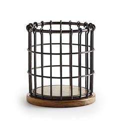 Pfaltzgraff Anvil Cage Wire And Acacia Wood Utensil Holder,