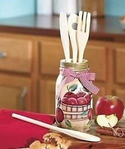 Apple Painted Glass Mason Jar Utensil Holder Country Old Fas