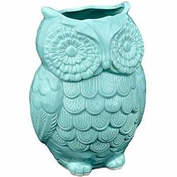 MyGift Aqua Blue Owl Design Ceramic Cooking Utensil Holder/M