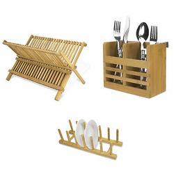 Home Basics Bamboo Dish Drainer & Dish Drying Rack & Cooking