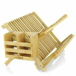 Bamboo Dish Drying Rack - Foldable And Collapsible Eco Frien