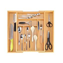 Bamboo Expandable Cutlery Drawer Organizer - Kitchen Utensil