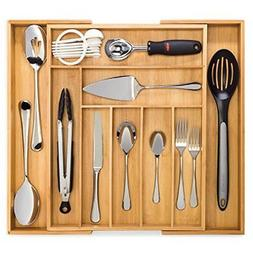 Bamboo Expandable Drawer Organizer Premium Cutlery and Utens