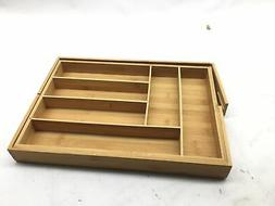 AmazonBasics Bamboo Expandable Kitchen Utensils Drawer Organ