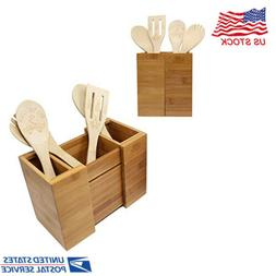Bamboo Expandable Utensil Holder Organizer for Flatware and