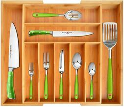 Bamboo Kitchen Drawer Organizer - Expandable Silverware Orga