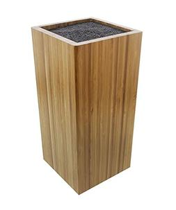 Bamboo Knife Block with Bristles - Natural Universal Knife S