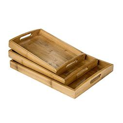 MyGift Set of 3 Natural Bamboo Rectangular Nesting Breakfast