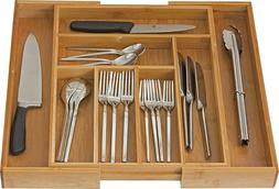 Bamboo Utensil Drawer Organizer Large Cooking Cutlery Wood