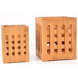 SZUAH Bamboo Utensil Holder + Flatware Holder, Large Capacit