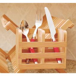 Bamboo Utensil Holder Flatware Handy Organizer Wooden Dish D