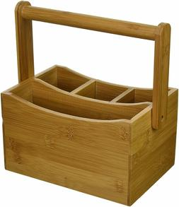 Bamboo Utensil Holder Kitchen Wooden Cutlery Tabletop Caddy