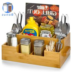 Bamboo Utensil Holder Wooden Caddy Set Plus 2 Spice Jars, Si