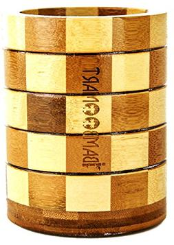 iBambooMart Bamboo Utensils Holder with 2 Thick Walls of Woo