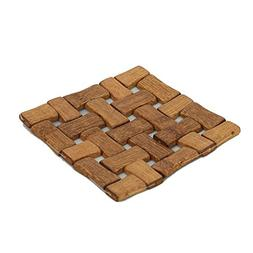 Kuber Industries Bamboo Wooden Coaster, Pan Pot Holder Heat