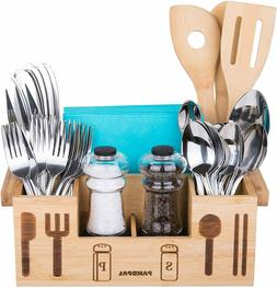 Bamboo Wooden Utensil Caddy Flatware - Holder for Spoons, Kn