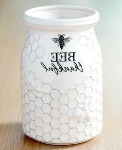 Bee Thankful Utensils Holder White Ceramic Kitchen Tools Sto