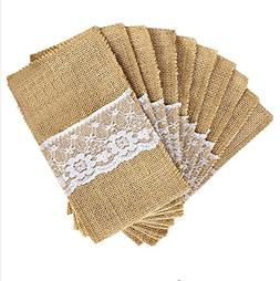 May's Big Day 4x8 Inch Burlap Cutlery Holder Pouch with Lace