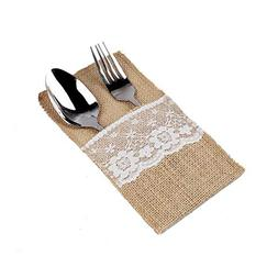 Natural Burlap Cutlery Holder Utensil Bag Lace for Wedding T