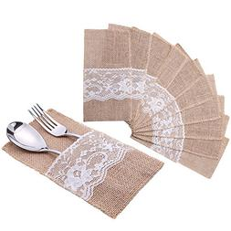 handrong Natural Burlap Lace Silverware Napkin Holder Knife