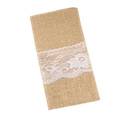"KOOMAGIC 20 Pack 4""x8"" Natural Burlap Lace Utensil Holders f"