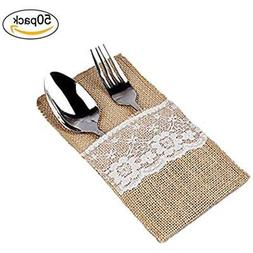 sexyrobot 50 Pack Natural Burlap Utensil Holders Vintage Wed
