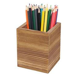 MyGift Burnt Wood Desktop Pen & Pencil Holder