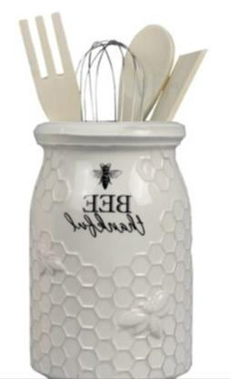 Young's Ceramic Bee Tool Utensil Holder Crock With 3 Wood