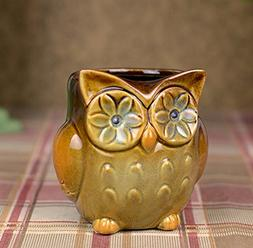 YOURNELO Ceramic Owl Pen Pencil Holder Desk Organizer Access