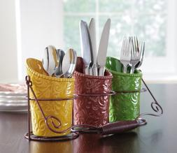 Set of 3 Ceramic Tuscan Country Kitchen Accent Autumn Fall T