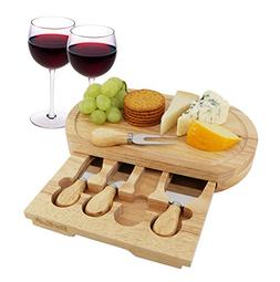 Cheese Board Set by StarBlue - with 4 Knives and Slide Out D