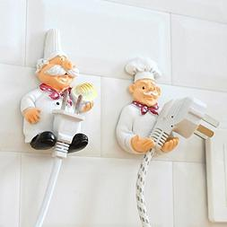 LIVDAT 2 Pcs Chef Cook Shape Resin Decorative Wall Mounted P
