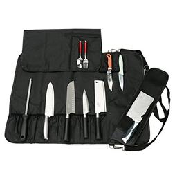 Chef's Knife Roll with 17 Slots Can Holds 13 Knives, 1 Meat