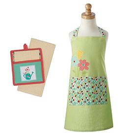 Buy More Fun Chef Set for Kids - Green Embroidered Daisy Apr