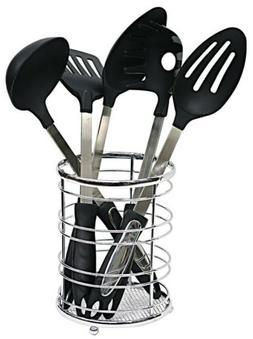 Home Basics Chrome Collection Cutlery Holder - Utensil Organ