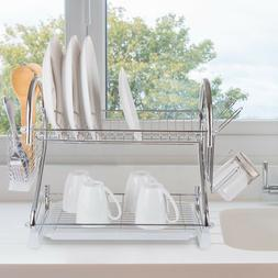 Chrome Dish Drying Rack - 2 Tiered with Cup and Utensil Hold