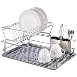 22 Inch Chrome Dish Rack with Utensil Holder, Cup Rack and T