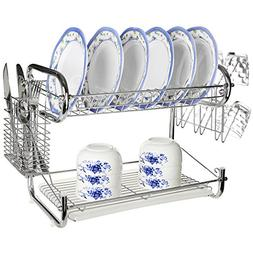 Chrome Plated 2 Tier Dish Rack Storage w/Cup Drainer & Cutle