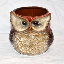 "New 5"" Chubby Big Eyed Owl Burnt Red & Tan Colored Utensil H"