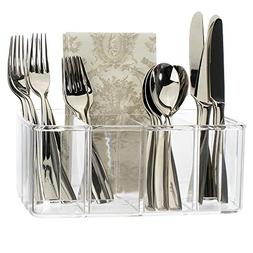 STORi Clear Plastic Utensil and Condiment Caddy | 5 Compartm