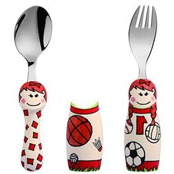 Eat4Fun Kids and Toddler Utensil Set - Sports Girl Fork & Sp